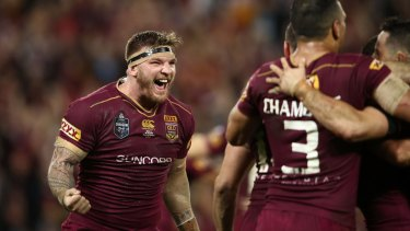 Losers have meetings: Josh McGuire celebrates at full time.