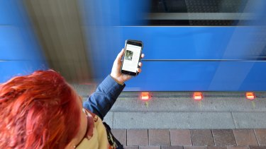 Mind the tracks ... the town of Augsburg in Germany has outfitted two light rail stations with experimental traffic signals for oblivious phone users.