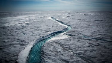 Meltwater on the Greenland ice sheet, one of the biggest and fastest-melting chunks of ice on Earth.