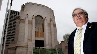 Former NSW RSL president Don Rowe at Sydney's Hyde Park war memorial.