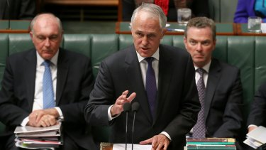 Prime Minister Malcolm Turnbull during question time on Wednesday.