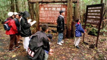 A group of schoolchildren read signs posted in the dense woods of the Aokigahara Forest.