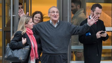 Free: Vincent Asaro gestures as he leaves the Brooklyn federal court on Thursday.