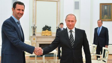 Russian President Vladimir Putin with Syrian President Bashar al-Assad in the Kremlin in 2015.