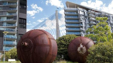 Rusted spheres and new apartments in Pyrmont, Sydney.