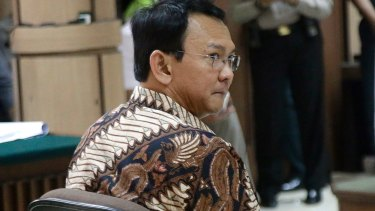 Ahok is seen during his trial at the North Jakarta District Court on blasphemy charges.
