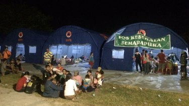 A temporary shelter for villagers who have evacuated.