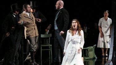 Dalibor Jenis (Miller), Raymond Aceto (Walter), Nicole Car (Luisa) and Eva Kong (Laura) in Opera Australia's Luisa Miller (Sydney cast).