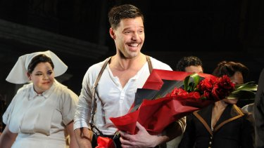 Star Ricky Martin on the opening night of the Scott Sanders production of 'Evita' at the Marquis Theatre.