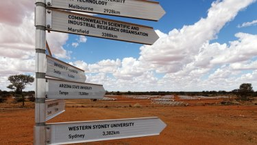 The Murchison Widefield Array at Boolardy station in  Western Australia, site of the Murchison Radio-astronomy Observatory, 600 kilometres north-east of Perth.