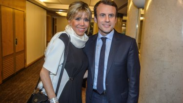 Emmanuel Macron, candidate for the French presidential elections and his wife Brigitte Macron.