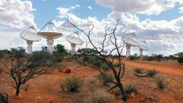 The Australian Square Kilometre Array Pathfinder (ASKAP) radio telescope array stretches across the landscape at Boolardy station in Western Australia.