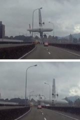 A series of three stills that show the plane crashing over an overpass.