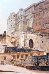 Watercolour by Jason Roberts of Mehrangarh Fort, Rajasthan, where he was hosted by the former Maharaja of Jodphur to paint animals (see camel at bottom) and buildings.