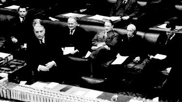 Robert Menzies speaking in parliament in 1941.