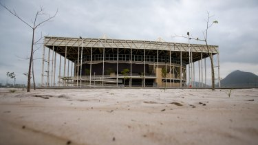 The mostly abandoned Olympic Aquatics stadium at the Rio Olympic Park last week.