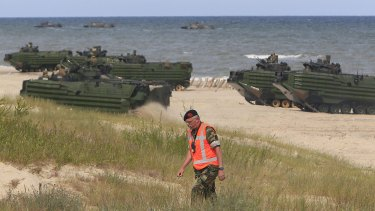 NATO troops make a massive amphibious landing in Ustka, Poland, during sea exercises in June 2015 to reassure the Baltic Sea region allies in the face of a resurgent Russia.