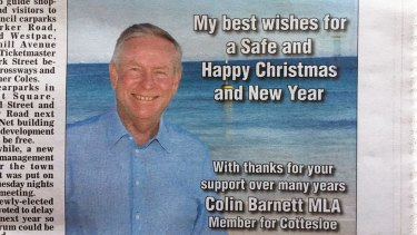 Colin Barnett paid for this ad to appear in his local paper ahead of his retirement announced on Friday.