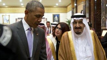 President Barack Obama and Saudi Arabia's King Salman  in Riyadh.