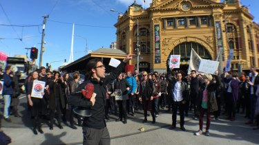 Protest against Border Force on the streets of Melbourne on Friday afternoon.
