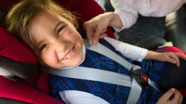 Professor Lynne Bilston from Neuroscience Research Australia, shows how to correctly fit a car seat to keep Bayleigh McIntosh age 5, from Coogee, nice and safe. If you can pinch the fabric, it is very likely too loose.