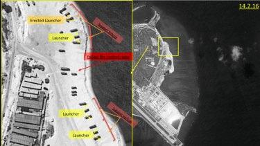 Satellite images of Woody Island, the largest of the Paracel Islands in the South China Sea. A US official confirmed China has placed a surface-to-air missile system on the island.