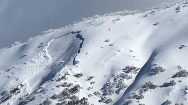 The avalanche on Mount Hotham on Tuesday morning.