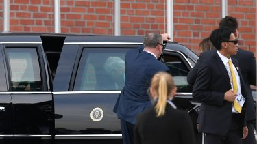 Australian Prime Minister Malcolm Turnbull can be seen entering US President Donald Trump's car, known as the 'Beast' in Hamburg  on Friday.