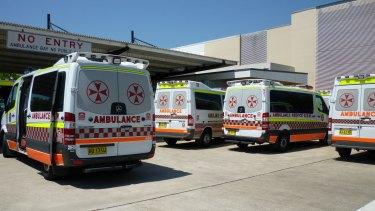 Ambulances at Blacktown Hospital.