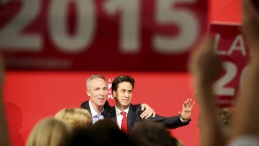 Ed Milliband, right, and the leader of the Scottish Labour Party Jim Murphy at an election rally in Glasgow.