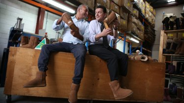 Ugg boot manufacturer Eddie Oygur and Senator Nick Xenophon don a pair of ugg boots to highlight the upcoming battle against a US global footwear brand to use the word 'ugg'.
