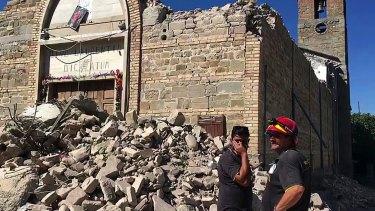 The damaged church of Villa San Lorenzo a Flaviano, near Amatrice.
