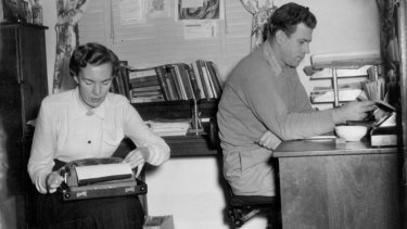 Park and her husband  D'Arcy Niland in 1955: they were determined to make a living as freelance writers. Park more usually worked at the ironing board in the kitchen.