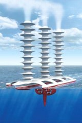 A drawing of marine cloud whitening technology.