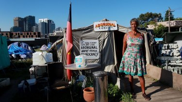 Jenny Munro at the tent embassy.