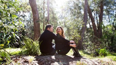"""Patrick and Mel Jacob at their Blue Mountains home this month: """"I'd fallen head over heels in love with his gentleness,"""" says Mel. """"I couldn't begin to imagine how he would survive in prison."""""""