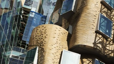 The brick facade of the new UTS Gehry building