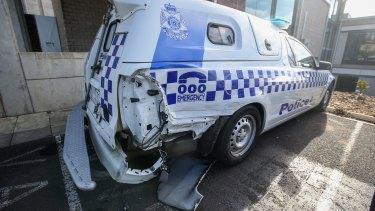 This police car was rammed in Warrnambool a week ago.