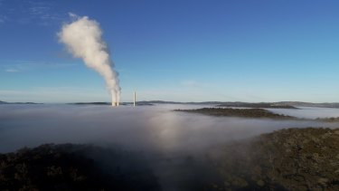 Steam rises from EnergyAustralia's Mount Piper power station, near Lithgow.