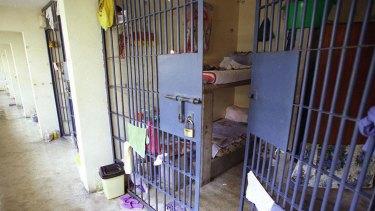 A cell inside Santa Monica prison in Chorrillos, a seaside suburb of Lima, Peru.