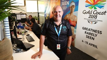 Mark Grant at work as a volunteer for the 2018 Commonwealth games.