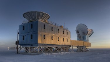 Big Bang seeker: The Dark Sector Lab which houses the BICEP2 telescope, about two kilometres from the geographic South Pole.
