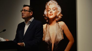 Victorian Premier Dan Andrews at the announcment of a Marilyn Monroe exhibition at Bendigo gallery.