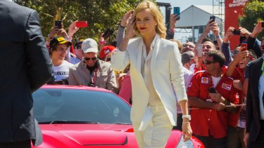 Charlize Theron arrives at the Australian Grand Prix at Albert Park.