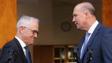 Prime Minister Malcolm Turnbull on Tuesday with Immigration Minister Peter Dutton, who will take on the Home Affairs portfolio.