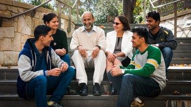 Professor Chennupati Jagadish with wife Vidya and students Bhagyashree Soni, Sameer Anil Sonar, Atish Kumar Awasthi and Abhilash Chakraborty who were funded by a Jagadish family endowment to study in Australia.
