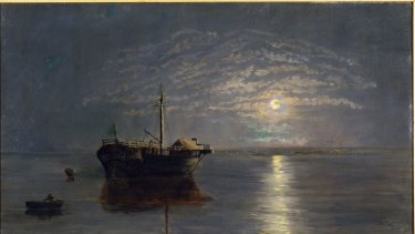 Moonlit scene, with the Prison Hulk Success, in Hobson's Bay by Carrie Victoria Dennis.