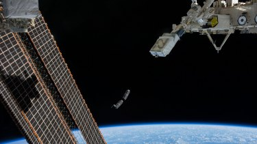 An artist's impression of the UNSW Ec0 mini-satellite launching from the International Space Station.