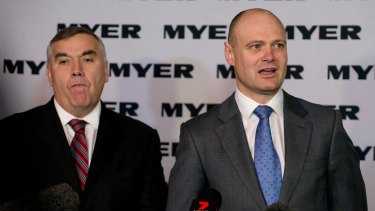 Former Myer chief Bernie Brookes (left) with his replacement CEO Richard Umbers.
