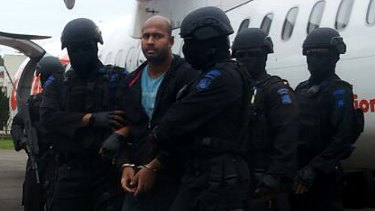 Myuran Sukumaran arrives at Cilacap airport on Wednesday.